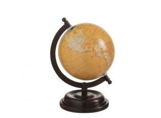 Dekorace glóbus na dřevěném podstavci Ochre small - 15*13*21 cm