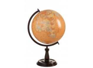 Dekorace glóbus na dřevěném podstavci Ochre large - 33*30*52 cm