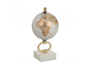 Glóbus na kovové zlaté noze Marble e-small - ∅10*20 cm