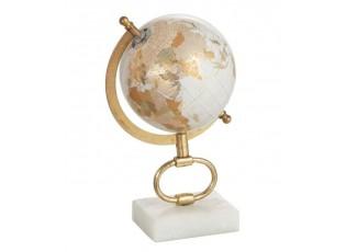 Glóbus na kovové zlaté noze Marble small - ∅15*27 cm