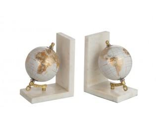 Mramorové zarážky na knihy s glóbusy Marble - 27*10*17 cm