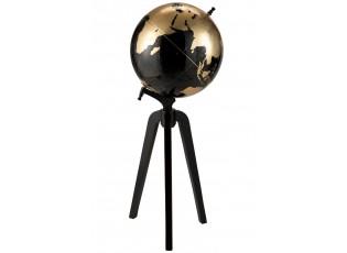 Dekorace černo-zlatý glóbus na trojnožce Blacgo - Ø30*55cm