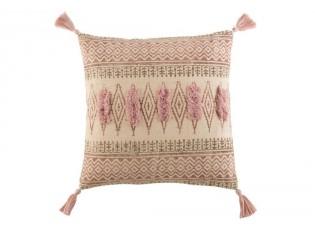 Růžový bavlněný polštář Indian se střapci - 50*50 cm