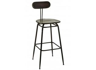 Černá kovová barová stolička s opěrkou Industrial - 45*46* 104cm