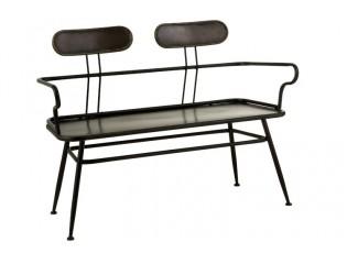 Černá kovová lavice s opěrkami Industrial - 116*55*88cm