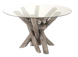 Jídelní kulatý dřevěný stůl se skleněnou deskou Branchy - Ø128*75 cm