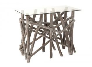 Konzolový dřevěný stůl se skleněnou deskou Branchy - 97*45*78 cm