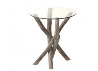 Odkládací kulatý dřevěný stůl se skleněnou deskou Branchy - Ø50*59 cm