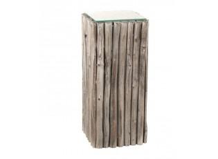 Odkládací dřevěný stůl se skleněnou deskou Branchy - 33*33*75 cm