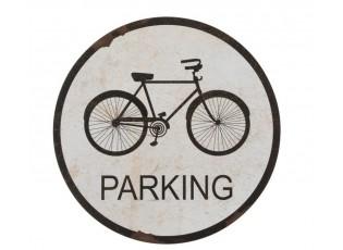 Černá kulatá kovová cedule Parking  - Ø 51 cm