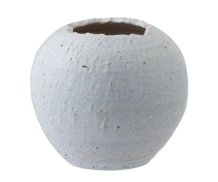 Bílý keramický květináč s patinou Shuck - Ø 30*33 cm