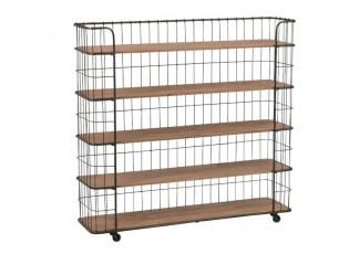 Černý kovový regál na kolečkách s dřevěnými policemi - 112*30*107cm