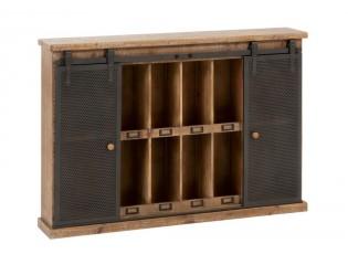 Nástěnná dřevěná police s kovovými pojízdnými dvířky - 121*21*82cm