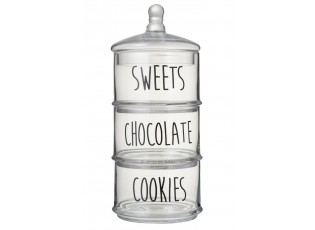 3 - patrová skleněná dóza Sweets Chocolate Cookies - Ø18* 40cm