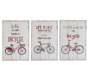 3 dřevěné nástěnné cedule Bicycle - 40*2*60 cm