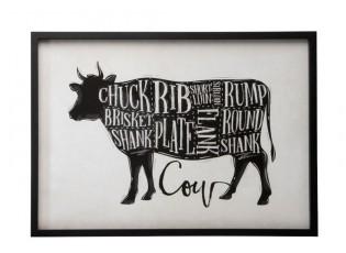 Nástěnná dekorace obraz krávy Cow - 70*2,5*50cm