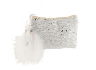 Bílá kabelka do ruky s flitry a peříčky Sequins - 22*18cm