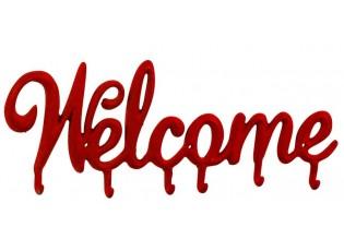 Nástěnný červený kovový věšák s háčky Welcome - 46,5*2,5*18cm