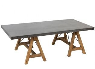 Přírodní dřevěný konferenční stůl s kovovou deskou Zink - 140*70*46cm