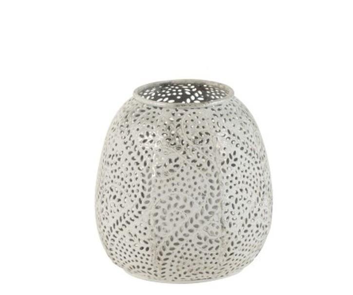 Bílý kovový svícen Oriental drop- Ø 12*11cm