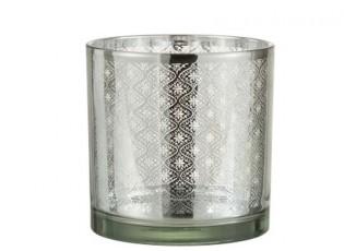 Skleněný svícen se stříbrným ornamentem Oriental silver - Ø 15*15cm