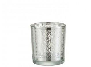 Skleněný svícen se stříbrným ornamentem Oriental silver - Ø 7*8cm