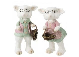 Dekorace ovčí chlapec a dívka Sheep - 25*22*46cm