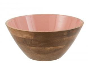 Dřevěná miska s růžovým vnitřkem Enamell large - ∅ 30*12,5cm