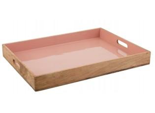 Dřevěný podnos s růžovým vnitřkem Enamell pink - 66*50*8cm