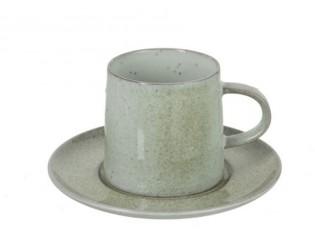 Zelený porcelánový šálek s podšálkem Dot mint - ∅ 16*9 cm