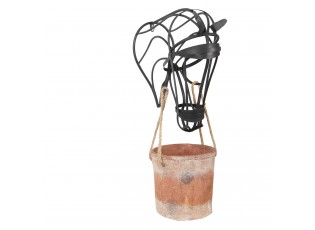 Závěsný květináč s kovovou hlavou koně - 37*20*72 cm