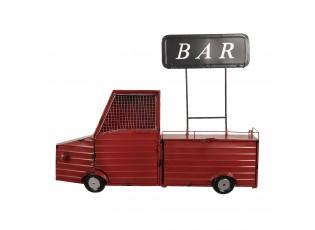 Nástěnné červené auto s cedulí BAR a háčky - 97*16*77 cm