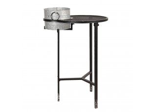 Kovový odkládací stolek s plechovým kyblíkem Stephan - 73*62*111 cm