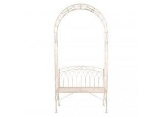 Kovová vintage zahradní lavice s obloukem Aurelie - 103*48*211 cm