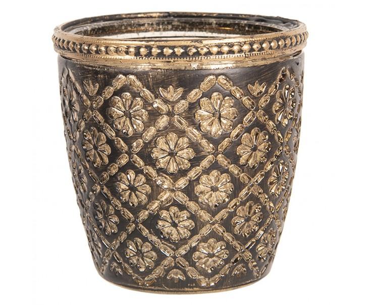 Skleněný svícen ze zlatými kytičkami - Ø 9*9 cm