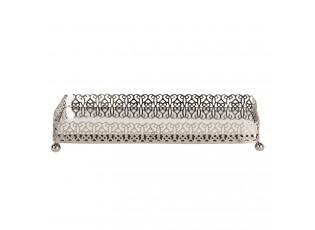 Stříbrný kovový obdélníkový svícen Silver - 20*10*3 cm
