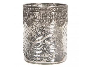 Skleněný stříbrný svícen na čajovou svíčku s kovovým zdobením,vytvoří příjemnou atmosféru po náročném dni.