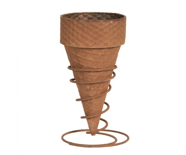 Rezavý květináč zmrzlinový kornout - Ø 12*24 cm