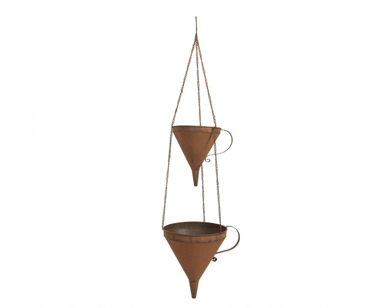 Závěsný plechový květináč s rezavým vzhledem - 32*25*105 cm