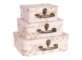 3ks růžové dekorační květované kufříky  - 30*21*9/25*18*9/20*16*8 cm