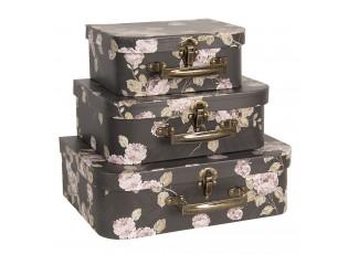 3ks černé dekorační květované kufříky - 30*21*9/25*18*9/20*16*8 cm