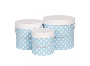 Sada 3ks modrých papírových krabic s puntíky - Ø 19*17 cm /Ø 16*15 cm /Ø 12*12 cm