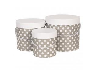Sada 3ks šedých papírových krabic s puntíky - Ø 19*17 cm /Ø 16*15 cm /Ø 12*12 cm