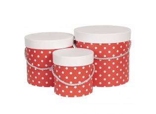 Sada 3ks červených papírových krabic s puntíky - Ø 19*17 cm /Ø 16*15 cm /Ø 12*12 cm