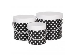 Sada 3ks černých papírových krabic s puntíky - Ø 19*17 cm /Ø 16*15 cm /Ø 12*12 cm
