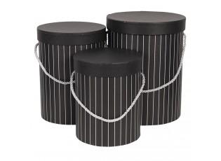 Sada 3ks černých papírových krabic s pruhy - Ø 17*14 cm /Ø 15*23 cm /Ø 18*24 cm