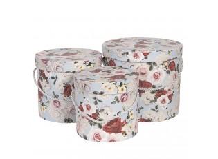 Sada 3ks papírových krabic s růžemi - Ø16*15 cm / Ø19*17 cm / Ø23*19  cm