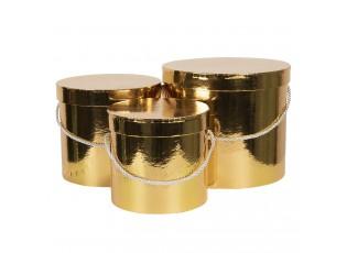Sada 3ks zlatých papírových krabic - Ø 16*15 cm /Ø 19*17 cm /Ø 23*19  cm