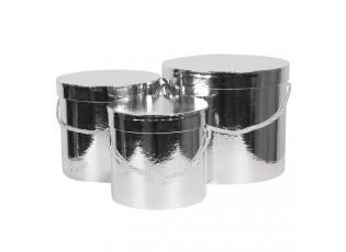 Sada 3ks stříbrných papírových krabic - Ø 16*15 cm /Ø 19*17 cm /Ø 23*19  cm