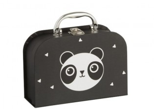 Černý papírový kufřík se zásuvkami Panda  - 20*14*7cm